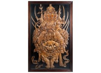Large rare Japanese Meiji period carved wood panel, C19th