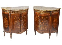 Pair late 18th Century French inlaid side cabinets.