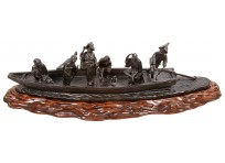 Large Japanese bronze boat with figures in, 19th Century. 41.5