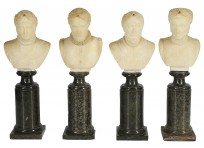 Four miniature Grand tour alabaster busts of Roman and Greek academics, C19th