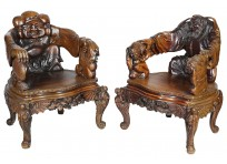 Pair of 19th Century Japanese Carved Wood Armchairs