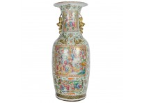 Large 19th Century Chinese Rose Medallion Vase on Stand