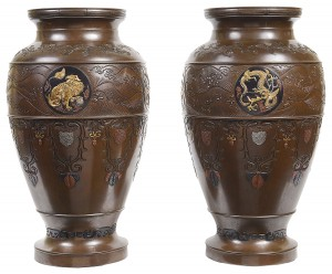 Fine quality pair of Japanese Miyao style bronze vases, circa 1890