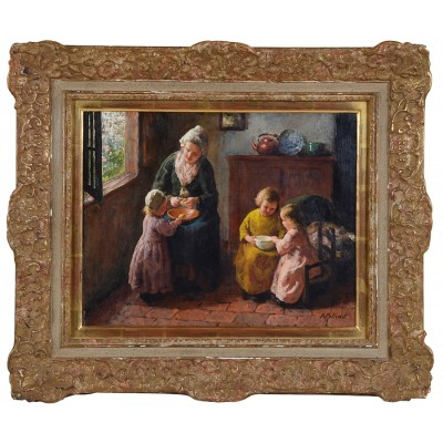 Oil on Canvas painting of Mother and Child by Bernard Pothast, 19th Century