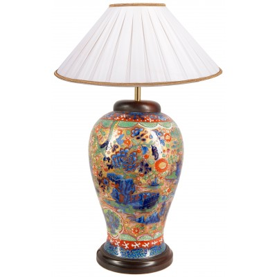 Chinese 19th Blue and White clobbered Vase / lamp, C19th