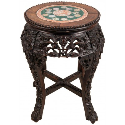 19th Century Chinese hardwood stand with inset famille verte plate.