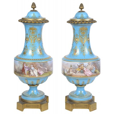 Pair 19th Century Sevres style lidded vases.