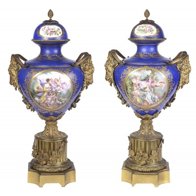 Large Pair 19th Century Sevres style lidded vases. 82cm high.