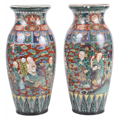 Pair of 19th Century Kutani Vases