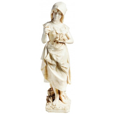 19th Century Marble flower girl, by Prof. A Cambi