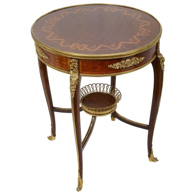 19th Century French inlaid Gueridon, circa 1890, after Linke