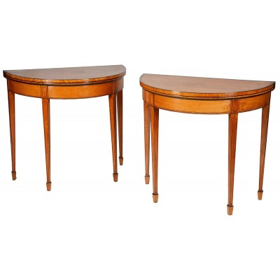 Pair of Sheraton Period Satinwood Card Tables