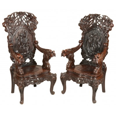 Large pair of 19th Century Oriental arm chairs
