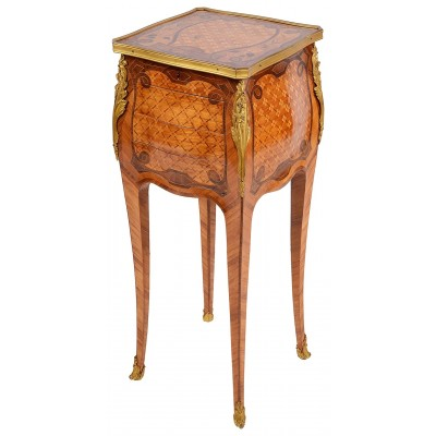 French Marquetry side table, late C19th.In the style of Linke