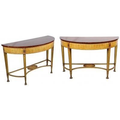Pair of Sheraton Influenced Console Tables, 19th Century