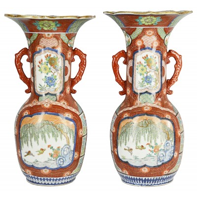 Large Pair Meiji period Japanese Kutani vases