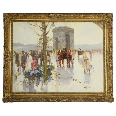Andre Gisson oil on canvas of the Arc de Triomphe.