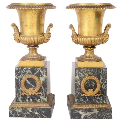 Pair of large classical 19th Century Ormolu urns