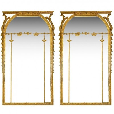 Large Pair of Georgian Style Gilded Wall Mirrors