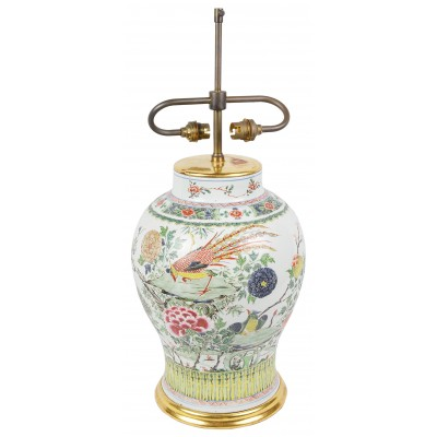 C18th Chinese Famille Rose Vase / Lamp