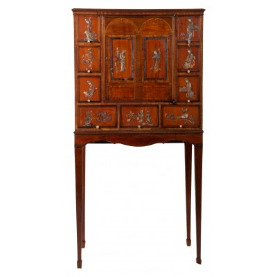 18th Century Satinwood cabinet on stand with Kangxi period panels.