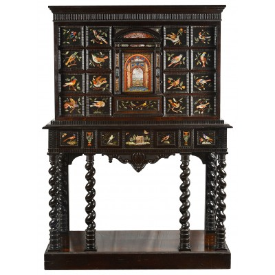 Italian Pietra Dura inlaid cabinet on stand