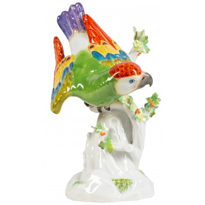 Early 20th Century Meissen Parrot perched on branch.