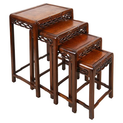 Nest of four Chinese hardwood tables, 19th Century.