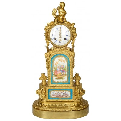 19th Century Sevres style gilded ormolu mantel clock.