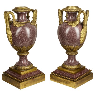 "Fine quality pair 19th Century French Porphery Urns 56cm(22"")"