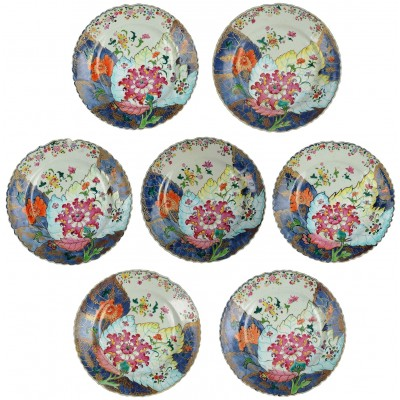 Seven 18th Century Chinese Export Tobacco leaf plates.