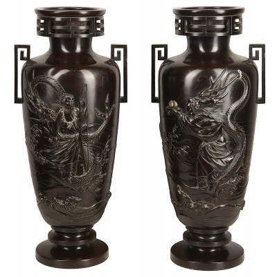 "Pair C19th Japanese cast bronze vases / lamps 57cm(22.5"")"