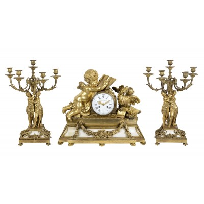 Large Louis XVI style ormolu and marble clock set.