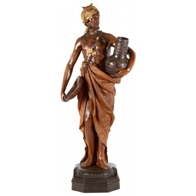 "Goldscheider Terracotta statue of Arab water carrier, 19th Century. 41.5""(105cm)"
