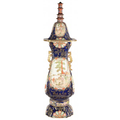 "Large Masons iron stone pagoda lidded vase. 19th Century 150cm (59"")"
