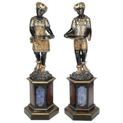 Pair 19th Century Venetian Blackamoor figures.