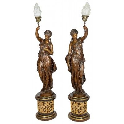 "Large classical floor standing bronze female statues / lamps, C19th. 170cm(67"")"