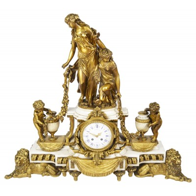 Large Louis XVI Style Mantel Clock, by Raingo Fres, Paris