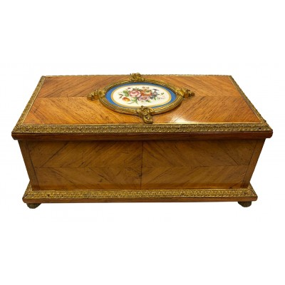"French C19th 'Sevres' porcelain mounted casket, 26cm(10"") wide"