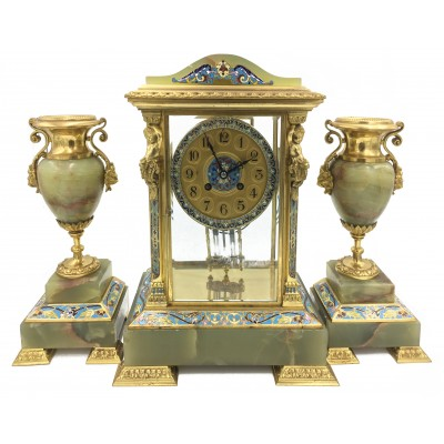 Louis XVI style ormolu, enamel and onyx mantle clock set. C19th